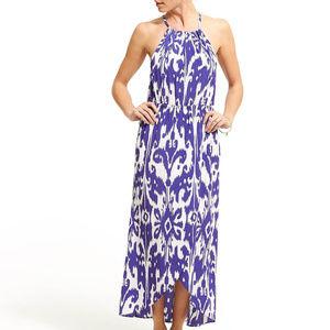 Athleta Ikat Bloom Blue/White Halter Dress, Size S